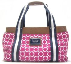"""Tommy Hilfiger """"H-Logo"""" Medium Iconic Tote in Hot Pink, White and Navy Blue by Brandname Handbags"""