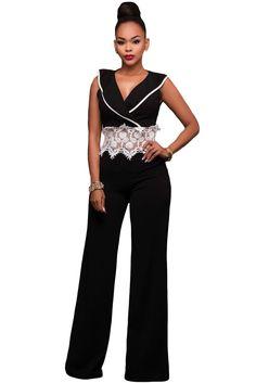 49de95f6f943 Contrast Lace Waist Insert Black Wide Leg Jumpsuit. Romper Long  PantsJumpsuits ...