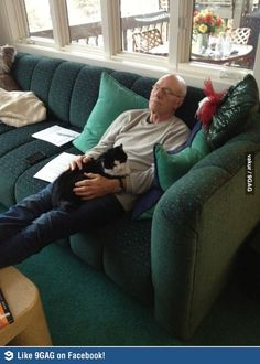 Patrick Stewart with cat