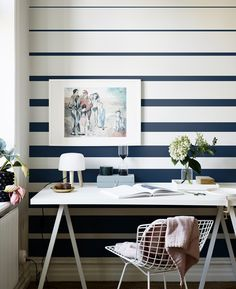 Inspiring & evocative design inspiration for room makeovers, this post takes the reader through 10 striped wallpaper design ideas for any room in the house. Office Wallpaper, Home Wallpaper, Classic Wallpaper, Wallpaper Direct, Wallpaper Decor, Painting Wallpaper, Bedroom Wall, Bedroom Decor, Decor Room