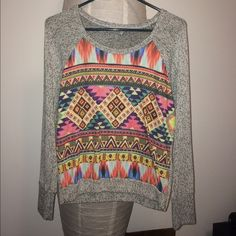 Aztec sweater This sweater is kind of worn a little and has a light fabric. Very cute with a pair of leggings. ⚠️Must go⚠️ Size - small Charlotte Russe Sweaters Crew & Scoop Necks