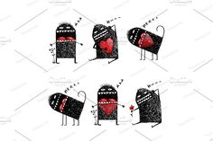 Character Monster in Love Sketchy by Popmarleo Shop on @creativemarket