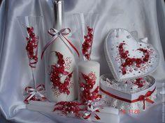 """Купить Свадебный комплект """"Малиновый коктейль"""" - ярко-красный, свадебные аксессуары, свадебный комплект"""