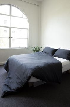 Bedroom Inspo - Pepper Black Bamboo Duvet cover by ettitude.com.au