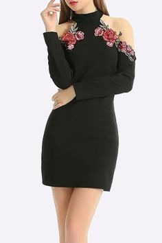 Black Cold Shoulder Flower Pattern Mini Dress