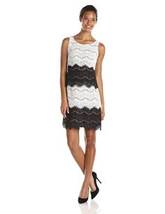 SL Fashions Womens Lace Tiered Dress BlackIvory 6 ** For more information, visit image link.