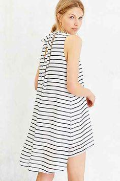 black + white striped dress