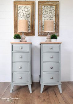 Creating Beauty from Broken Down - Bedside tables from an old desk - Timeless Creations Wood Dresser, Dresser As Nightstand, Unique Furniture, Diy Furniture, White Painted Furniture, Old Picture Frames, Laundry Room Design, Ship Lap Walls, Furniture Inspiration