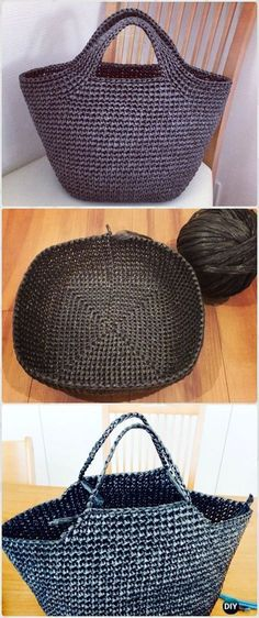 Crochet handbags 415457134377056772 - Crochet Vinyl String Handbag Free Pattern – Crochet Handbag Free Patterns Instructions Source by Bag Pattern Free, Crochet Basket Pattern, Crochet Tote, Crochet Handbags, Crochet Purses, Crochet Hooks, Free Crochet, Knit Crochet, Crochet Baskets