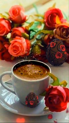 Good Morning Quotes Discover Good morning Some morning coffee and roses to start the day Good Morning For Her, Good Morning Beautiful Flowers, Morning Love, Good Morning Friends, Good Morning Greetings, Morning Coffee Images, Good Morning Coffee Gif, Good Morning Flowers Rose, Bisous Gif