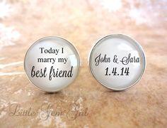 Today I marry my best friend custom name and date wedding Cufflinks - Groom Cufflinks Silver Plated Wedding Cuff Links - Wedding Keepsake on Etsy, $27.00