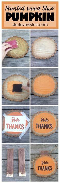 Painted Wood Slice Pumpkin
