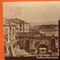 Albúmina. Estereoscópica. Curiosa vista de San Sebastian. La Aduana. No figura fotógrafo 18 x 9 cm - Foto 1