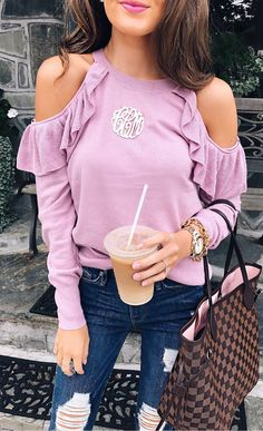 #fall #outfits Pink Cold Shoulder Top + Ripped Skinny Jeans