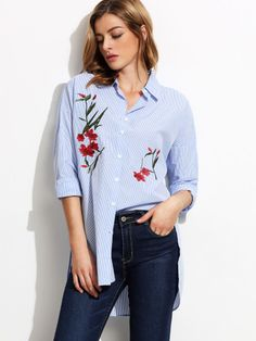 Blue Stripe Embroidery High Low Split Side Blouse