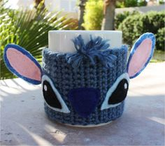 Stitch -ish Coffee Mug Tea Cup Cozy - Blue Alien Disney -ish Lilo & Stitch Handmade Sleeve  if anyone wants to buy me an awesome disney gift this would be it. :)