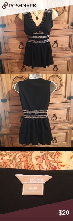 💋NEW LISTING💋Michael Kors Top Black with decorative white stitching🔸50%Cotton/50%Polyester🔸Knit with some stretch MICHAEL Michael Kors Tops