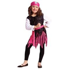 Ahoy Matey Pirate Costume (Girl - Child Large 10-12) by Disguise ...
