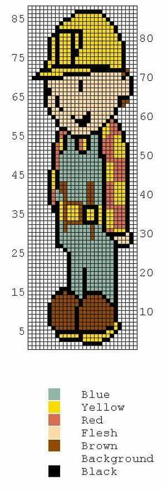 Bob the Builder Color Graph Afghan Pattern $3.50 | Crochet | Pinterest