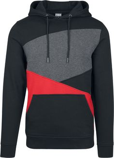 Urban Classics Hoody 'Zig Zag' Herren, Grau / Rot / Schwarz, Größe L Hooded Sweater, Hooded Jacket, Brave, Streetwear, Gaming Merch, Madonna Mode, Urban Surface, Urban Classics, Workout Tops