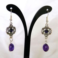 sterling silver filigree and amethyst drop earrings