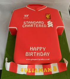 8th Birthday - Liverpool Football shirt cake.