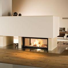 Buller-Ofen GmbH ofen als raumteiler und man sieht das feuer von beiden seiten