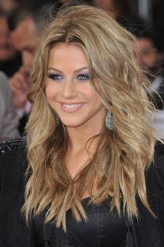 long shaggy layered hairstyles for 2014 | Hough wears her long hair in shaggy feathered layers. This hairstyle ...