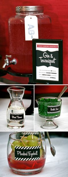 "GIN & TOURNIQUET (single)  3 oz Cranberry Juice  3 oz Ginger Ale or Gin  1 tbs Torani Vanilla Flavor (Blood Thinner)  1 tbs Lime Jello, stirred to thin (Beetle Juice)  1 Green Grape or Olive on a pick (Eyeball)  Add to glass and mix well with a ""Hypodermic Stirring Needle."""