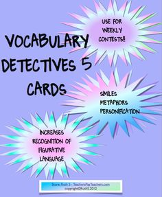 Start off the year with Vocabulary Detective Contests! Fun weekly simile, metaphor and personification contests that even motivate kids who say they don't like to read! Use with any book. priced item