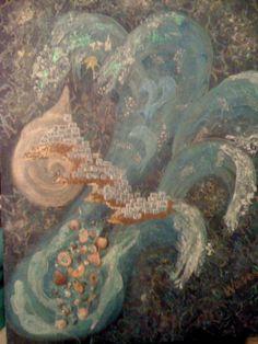 Acrylics and shells on canvas. Inspired by Ios island, Greece Windsurfing, Acrylics, Greece, Ios, Shells, Fantasy, Island, Inspired, Drawings