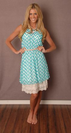 Turquoise and White Chevron Dress #bellaellaboutique