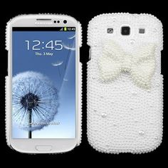White Bow 3D Bling Case Cover For Samsung Galaxy S 3 III