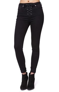 """The women'sLace Up Skinniest Jeans by Gypsy Warrior for PacSun and PacSun.com features a lace up style and solid black coloring throughout. We love the high waisted fit and stretch fabric. Wear these stylish jeans with your sweaters and boots!%09Super high rise%0910"""" rise%0930"""" inseam%09Measured from a size 3%09Model is 5'9"""" and wearing a 3%0964% cotton, 34% rayon, 2% spandex%09Machine washable%09Imported"""
