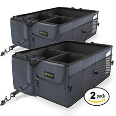 Drive Auto Products Car Trunk Storage Organizer with Straps, Suv Trunk Organization, Trash Can For Car, Car Storage, Storage Ideas, Garage Storage, Storage Boxes, Car Trunk, Truck Accessories, Accessories Online