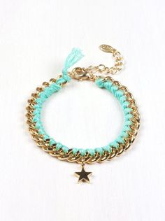 Mint Star Charm Thread Wrapped Bracelet with Gold Chain, Gold bracelet, friendship bracelet, colorful bracelet, star bracelet B49 on Etsy, $12.00