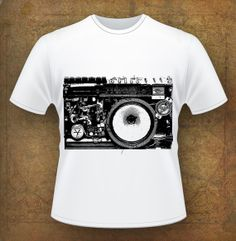 T-Shirt Tape Recorder Music Printable Graphic Illustration Clip Art Instant Download Digital Collage Iron on transfer Clothing Background