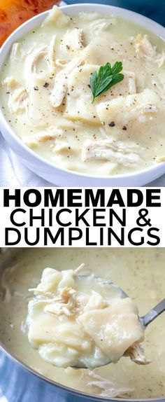 Homemade Chicken and Dumplings - A Comfort Food Classic - Cooking - Easy, hearty, classic and addicting these Homemade Chicken and Dumplings are just like how your gra - Creamy Chicken And Dumplings, Chicken Dumpling Soup, Homemade Dumplings, Dumplings For Soup, Dumpling Recipe, Chicken Soup, Cracker Chicken, Lemon Chicken, Chicken Casserole