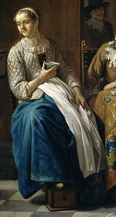 """1740 - 1760. Detail of """"Het nieuwe lied"""" (The new song) by Jan Jozef Horemans II (Flemish painter). Women -- Clothing & dress -- 1700-1799 -- Belgium. 18th century Flemish costume. The hem of her blue petticoat has an embroidered or printed/painted design. Note the typical footwarmer which is seen in many paintings from the Low Countries. Women often rested their feet on a small wooden box which contained a smaller terracotta pot which contained the hot coals."""