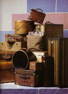 vintage luggage display