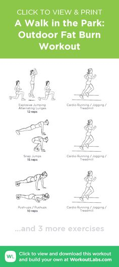 A Walk in the Park: Outdoor Fat Burn Workout – click to view and print this illustrated exercise plan created with #WorkoutLabsFit