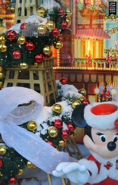 Minnie Mouse and the Eiffel Tower shop window, beautiful Christmas Window at Disney Land Paris