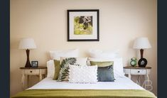 Olive greens for a relaxing master bedroom. KyeCreations styling with Valiant Hire.