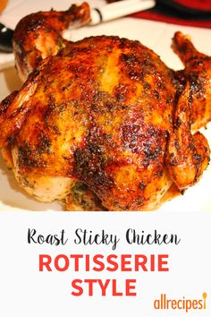 Ever wish you could get that restaurant-style rotisserie chicken at home? Well, with minimal preparation and about 5 hours' cooking time, you can! Rotisserie Chicken Breast Recipe, Fryer Chicken Recipes, Air Fryer Dinner Recipes, Whole Baked Chicken, Sticky Chicken, Roasted Chicken, Cooking Pumpkin, Cooking Recipes, Cooking Time