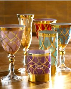 The Horchow Collection Multicolor Drinkware ~ Festive!