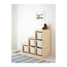 TROFAST Storage combination, pine light white stained pine, white light white stained pine/white 37x17 3/8x35 7/8