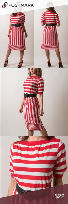Vintage 1980s Striped Jersey Knit Dress Made by CBGB. Material is a cotton blend jersey knit. Circa 1980s. The waist has lost its elasticity, and some of the stitching has come undone at the waist, but nothing that a belt can't fix. Belt shown is not included.  { m e a s u r e m e n t s }  taken with garment laying flat s h o u l d e r : 14 inches (seam to seam) b u s t : 18 inches (armpit to armpit) w a i s t : 16-18 inches across h i p : 20.5 inches across (at widest point) l e n g t h…