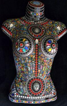 Cosmic Goddess mosaicked female mannequin by FlutterflyMosaics
