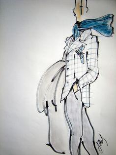 blue scarf, menswear.