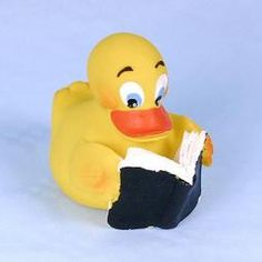 Reminds me of my dad....he loves to read and he has never outgrown rubber duckies